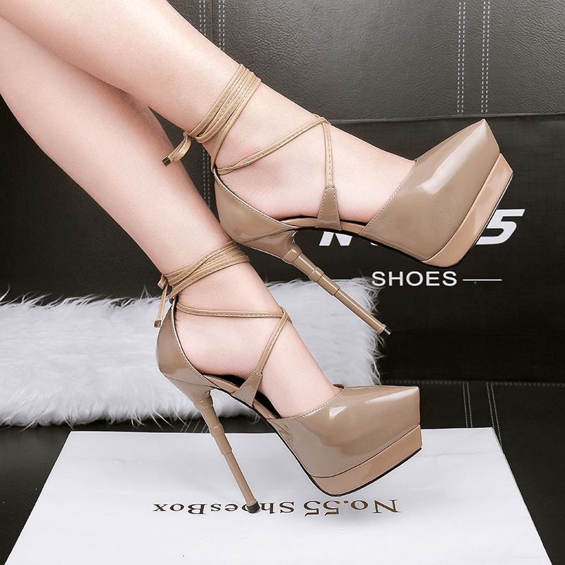 Modern / Fashion 2017 Cocktail Party PU Apricot / Beige Winter High Heels Stiletto Heels Pumps 15 cm / 6 inch Pumps