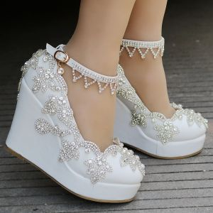 Modern / Fashion White Casual Womens Shoes 2018 Rhinestone Ankle Strap 10 cm Wedges Platform Round Toe
