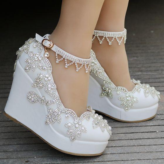 Modern / Fashion White Casual Womens Shoes 2018 Rhinestone Ankle Strap 10 cm Wedges Platform Round Toe