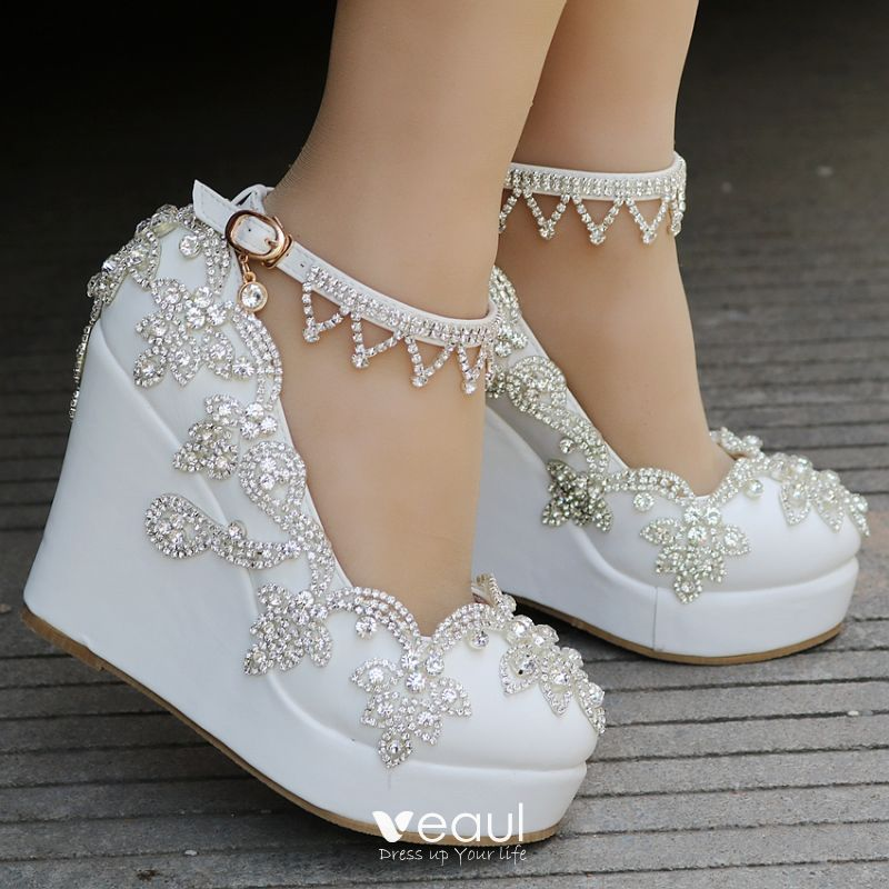 recognized brands authorized site official images Modern / Fashion White Casual Womens Shoes 2018 Rhinestone ...