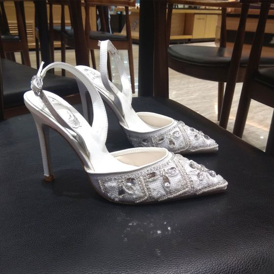 Charmant Ivoor Bruidsschoenen 2019 Polyester Enkelband Kralen Rhinestone Parel 9 cm Naaldhakken / Stiletto Spitse Neus Huwelijk Hoge Hakken