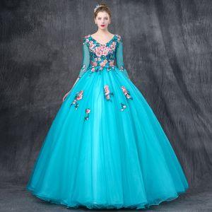 Chic / Belle Vert Jade Robe De Bal 2019 Robe Boule V-Cou 3/4 Manches Appliques En Dentelle Perle Faux Diamant Longue Volants Dos Nu Robe De Ceremonie