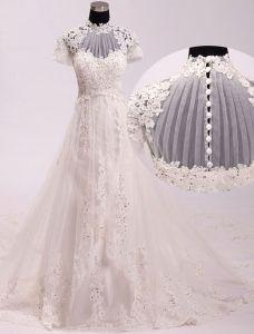 Vintage Palais Une Ligne Haute Cou Appliques De Perles Dentelle Robe De Mariée