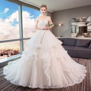 Chic / Beautiful Ivory Wedding Dresses 2019 A-Line / Princess Spaghetti Straps Beading Lace Flower Sleeveless Backless Cascading Ruffles Cathedral Train