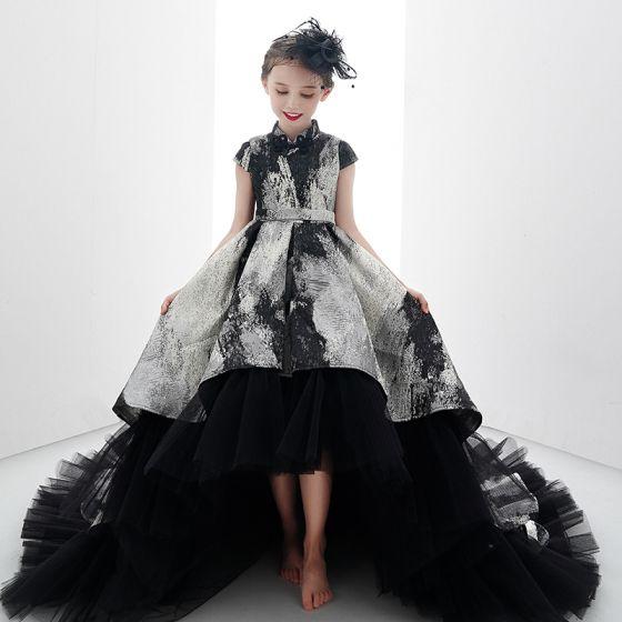 Wysoka Niska  Czarne Złote Urodziny Sukienki Dla Dziewczynek 2020 Suknia Balowa Wysokiej Szyi Rękawy z Kapturkiem Szarfa Druk Tiulowe Asymetryczny Wzburzyć