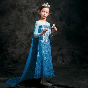 Frozen Costume Pool Blue Birthday Flower Girl Dresses With Shawl 2020 Sheath / Fit See-through Scoop Neck 3/4 Sleeve Appliques Lace Beading Sequins Ankle Length