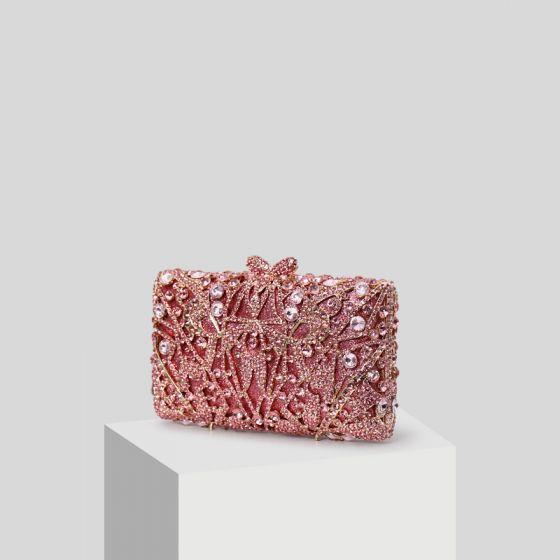 Luxury / Gorgeous Candy Pink Rhinestone Glitter Clutch Bags 2019