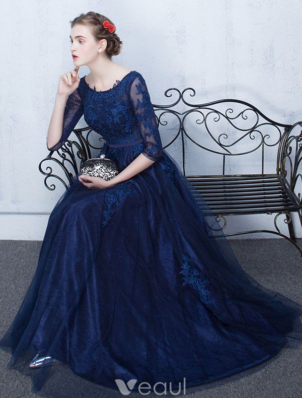 Elegant Lace Evening Dress 2017 Blue Long Formal Gown With Sleeves