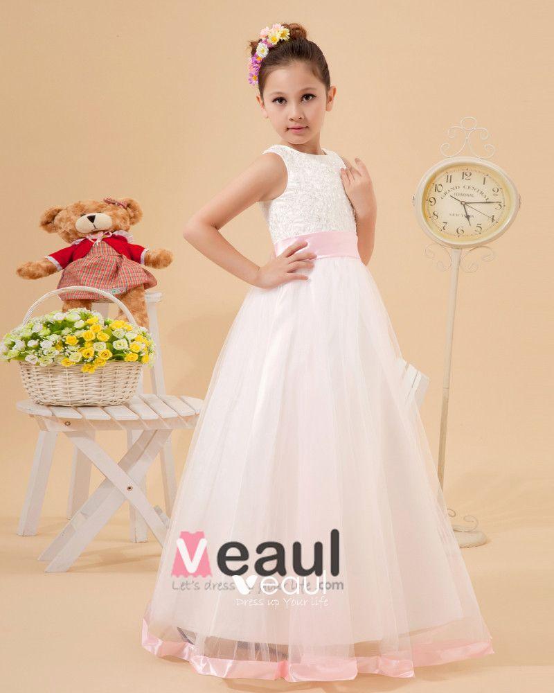 Organza Ruffle Sash Flower Girl Dresses
