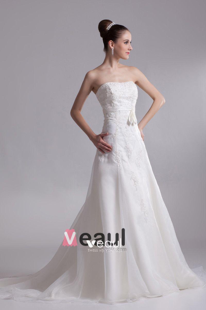 Strapless Applique Floor Length Organza Empire Wedding Dress