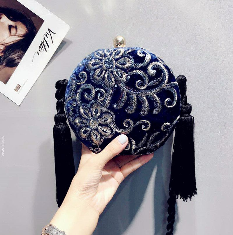 Traditional Navy Blue Lace Flower Sequins Velour Clutch Bags 2019 Tassel Accessories