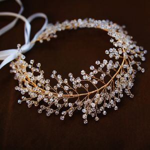 Classy Gold Headpieces Accessories 2019 Metal Crystal Bridal Hair Accessories