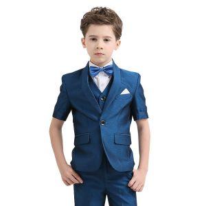 Simple Océan Bleu Cravate Bleu D'encre Costumes De Mariage pour garçons 2018