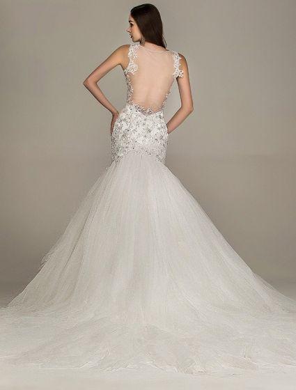 2015 hombros sirena cuello en v vestido de novia de encaje sin