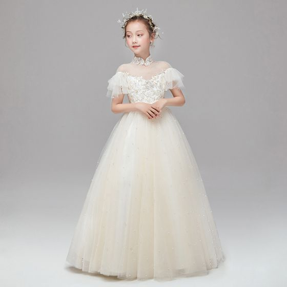Vintage / Retro Champagne Flower Girl Dresses 2020 Ball Gown See-through High Neck Short Sleeve Appliques Lace Pearl Sash Floor-Length / Long Ruffle