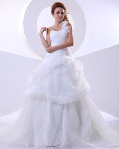 Organza Ena Axeln Rufsa Handen Blomma Domstol Balklänning Bröllopsklänningar Brudklänning