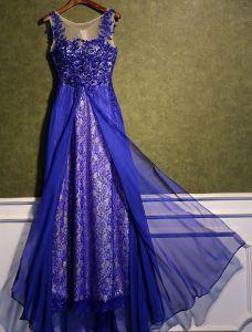 Schöne Partykleider 2016 U-ausschnitt Royalblau Spitzen Chiffon Langen Abendkleid