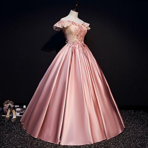 Elegant Candy Pink Prom Dresses 2019 Ball Gown Off-The-Shoulder Beading Appliques Lace Flower Sequins Short Sleeve Backless Floor-Length / Long Formal Dresses