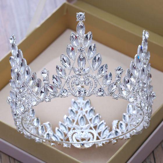 Luxury / Gorgeous Silver Rhinestone Tiara 2018 Metal Wedding Accessories