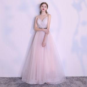 Elegant Blushing Pink Evening Dresses  2018 A-Line / Princess Spotted Sash Spaghetti Straps Backless Sleeveless Floor-Length / Long Formal Dresses