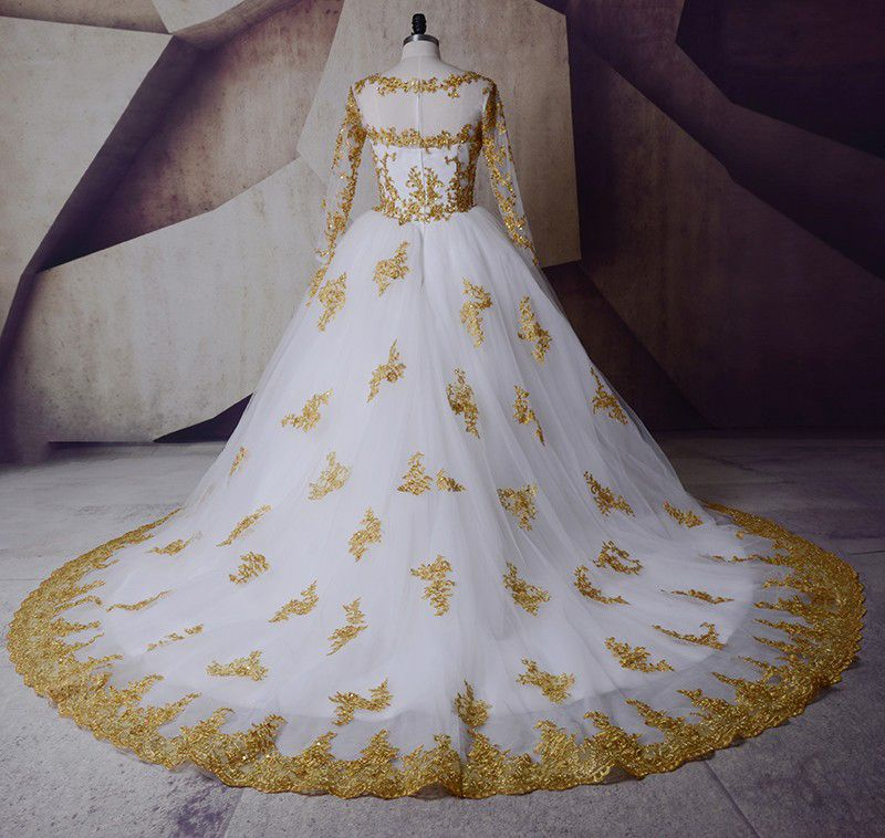 Sparkly White Gold Wedding Dresses 2017 Scoop Neck Shoulders Long Sleeve Appliques Lace Sequins Ball Gown Royal Train