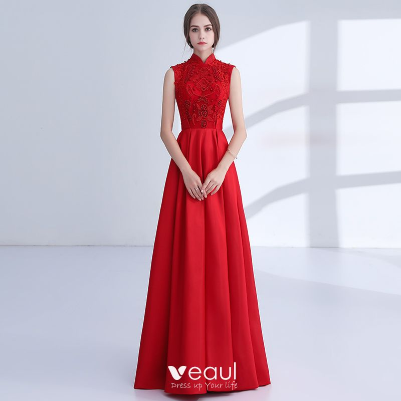 2a2c543385 Chinese style Red Evening Dresses 2018 A-Line / Princess Appliques ...