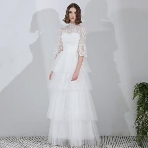 Mode Weiß Lange Hochzeit 2018 A Linie Tülle Stehkragen Geschwollenes Schnüren Strand Brautkleider