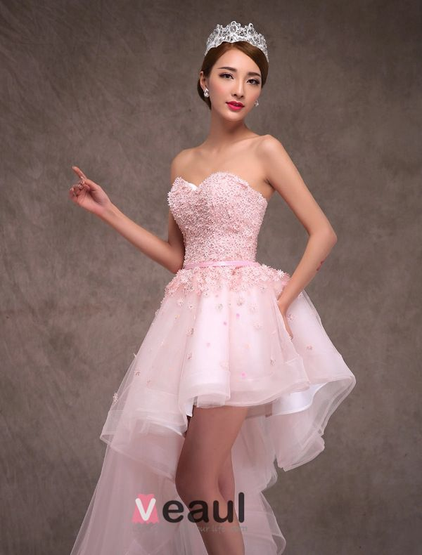 2015 A-line Princess Sweetheart Appliques Lace & Flowers Inclined Train Short Wedding Dress/ Prom Dress