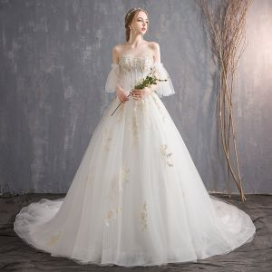 Affordable Ivory Wedding Dresses 2018 Ball Gown Lace Flower Pearl Sequins Sweetheart Backless Short Sleeve Cathedral Train Wedding