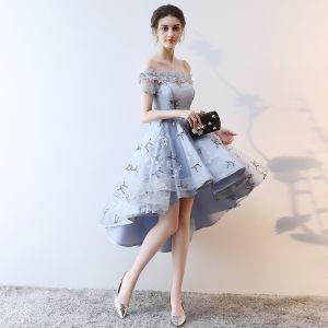 Moderne / Mode Gris Robe De Cocktail 2018 Princesse Asymétrique Appliques En Dentelle Noeud De l'épaule Dos Nu Manches Courtes Robe De Ceremonie