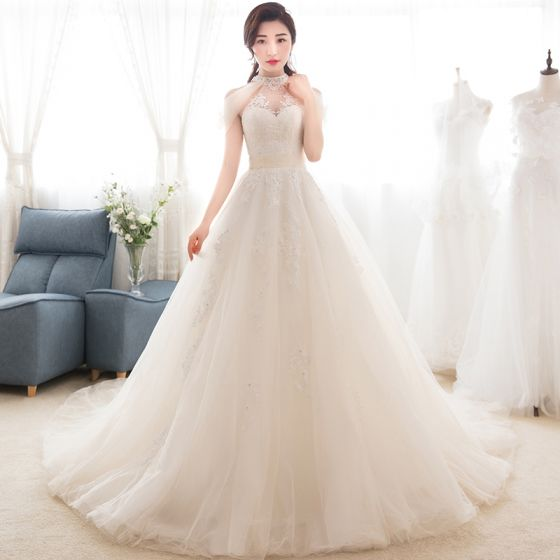 Vintage / Retro Champagne See-through Wedding Dresses 2018 A-Line / Princess High Neck Sleeveless Appliques Lace Beading Watteau Train Ruffle