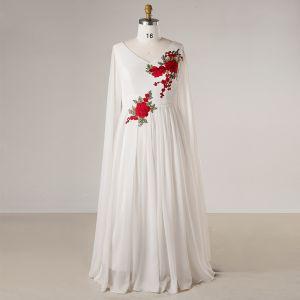 Style Chinois Blanche Grande Taille Robe De Soirée 2018 Fermeture éclair Princesse V-Cou Chiffon Brodé Soirée Robe De Ceremonie