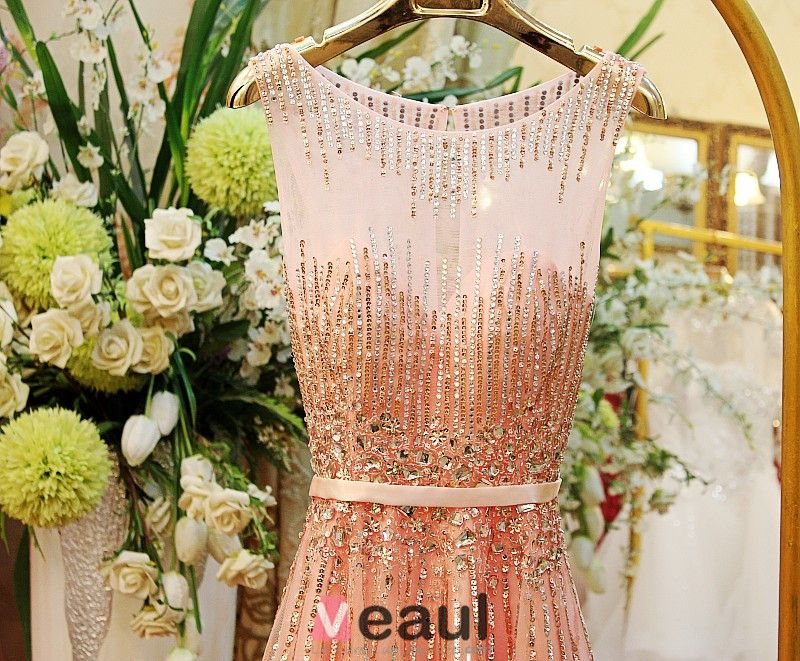 Glitter Formal Dress With Crystal Long Evening Dress For 2016 New Year Eve Christmas Party Dresses