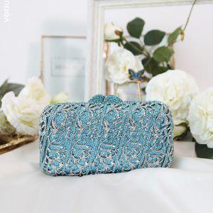 Mode Blå Rhinestone Glitter Clutch Taske 2019
