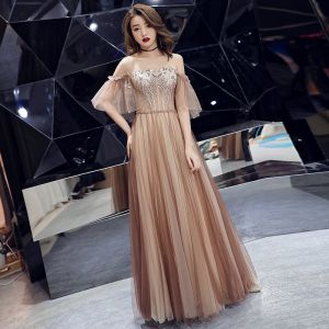 Chic / Beautiful Champagne Evening Dresses  2019 A-Line / Princess Off-The-Shoulder Beading Lace Flower Short Sleeve Backless Floor-Length / Long Formal Dresses