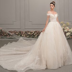 Elegant Champagne Wedding Dresses 2019 A-Line / Princess Off-The-Shoulder Short Sleeve Backless Beading Appliques Lace Glitter Tulle Cathedral Train Ruffle