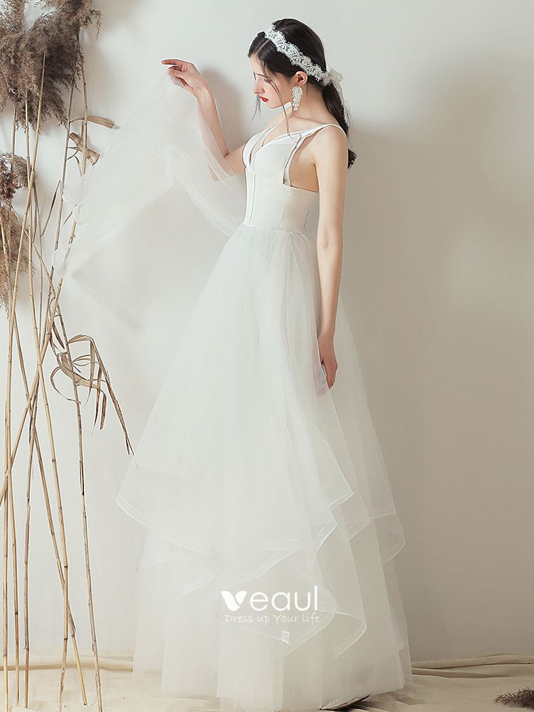 Modest / Simple Ivory Wedding Dresses 2019 A-Line / Princess Spaghetti Straps Sleeveless Backless Floor-Length / Long
