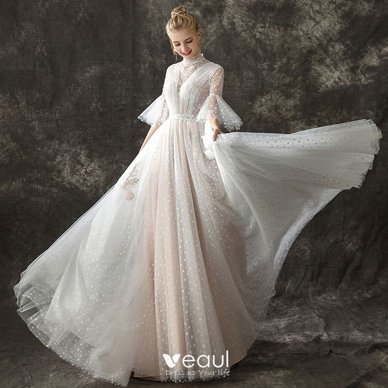 Vintage / Retro Champagne See,through Wedding Dresses 2018 A,Line /  Princess High Neck Bell sleeves Spotted Tulle Sweep Train Ruffle