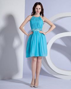 Elegant Chiffon Ruffle Halter Knee Length Cocktail Party Dress