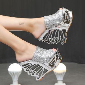 Unique Argenté Soirée Sandales Femme 2020 Métal Paillettes 15 cm Compensées Peep Toes / Bout Ouvert Sandales
