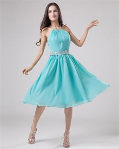 Classic Halfter Knielangen Chiffon Party Partykleid
