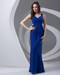Shoulder Straps Floor Length Pleated Chiffon Woman Prom Dress