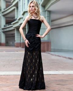 Strapless Pleated Satin Floor Length Evening Dresses