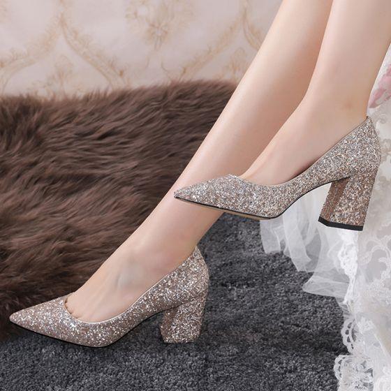 Unique Doré Chaussure De Mariée 2019 À Bout Pointu Polyester Glitter Paillettes Mariage Talons