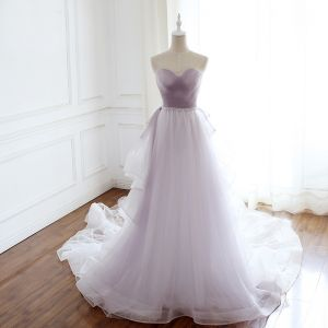 Elegant Lavender Evening Dresses  2018 Empire Sweetheart Sleeveless Crystal Beading Sash Detachable Court Train Ruffle Backless Formal Dresses