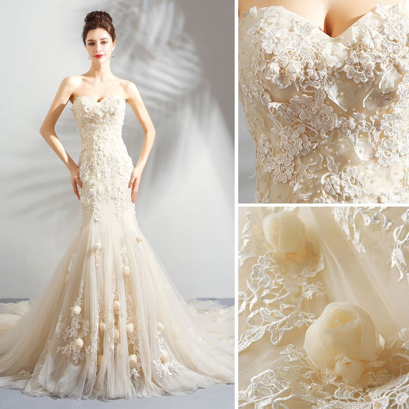 Affordable Champagne Wedding Dresses 2018 Trumpet / Mermaid Appliques Lace Flower Pearl Strapless Backless Sleeveless Court Train Wedding