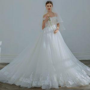 Elegant Ivory Wedding Dresses 2019 A-Line / Princess Off-The-Shoulder Beading Sequins Bow Sleeveless Backless Chapel Train