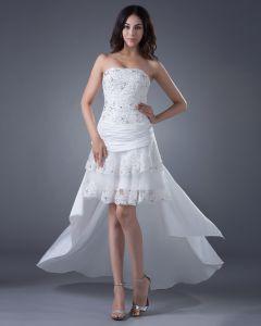 Hoch Niedrig Spitze Satin Sicke Applique Hochzeitskleid Brautkleider