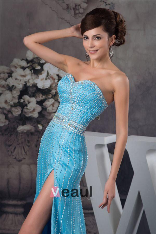 Sexy Amie Cristal Bustier Ceinture Perlage Robe De Bal Bleue
