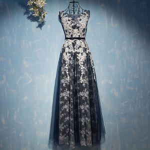 Elegante Marineblau Festliche Kleider 2017 Mit Spitze Blumen Schleife Rundhalsausschnitt Ärmellos Knöchellänge Empire Abendkleider